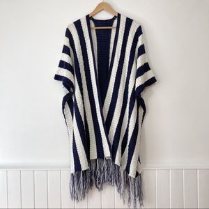 Navy & White Cable Knit Striped Poncho With Fringe Size M